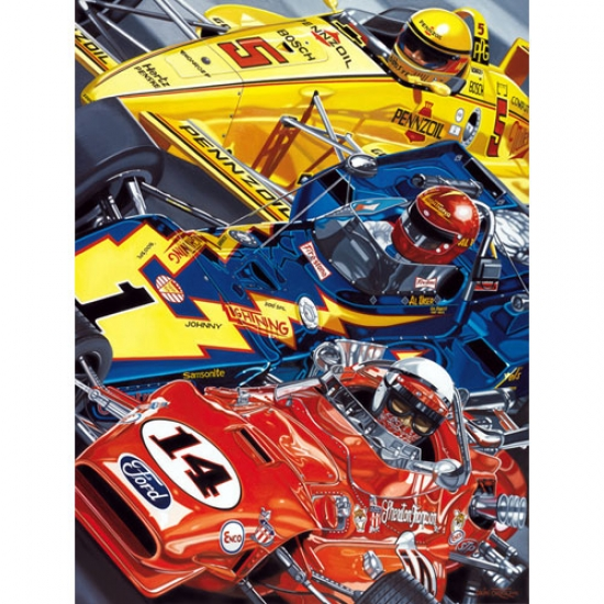Indy 4 Time Winners: Mears, Unser, Sr, Foyt Lithograph