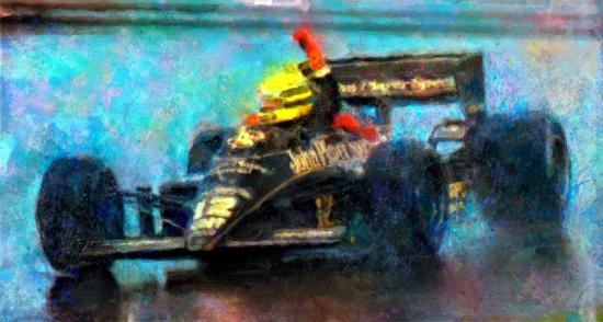 Ayrton Senna JPS Rain Man Canvas Print