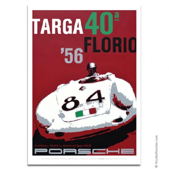 Nicolas Hunziker Porsche 550A Targa Florio 1956 Poster