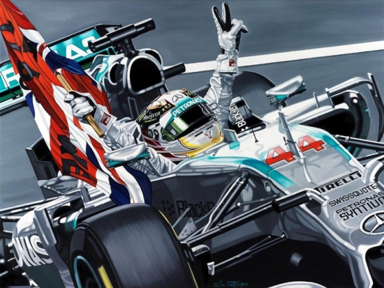 Lewis Hamilton Young Lionheart Mercedes AMG Giclee Print