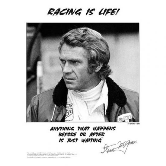 Steve McQueen Racing is Life Portait Poster