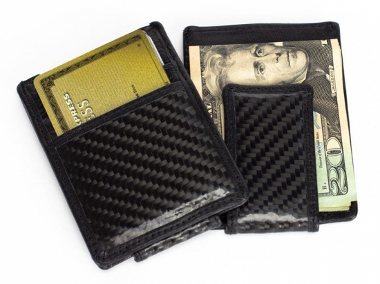 Carbon Fiber Leather Wallet with Money Clip