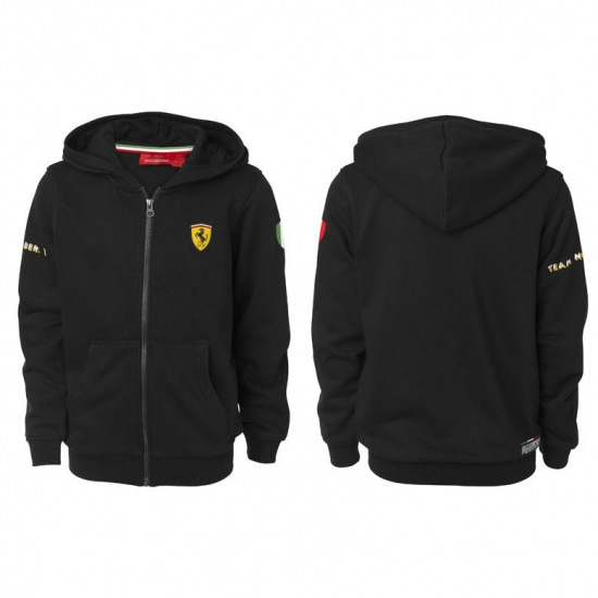 Ferrari Kids Black Hooded Sweat Shirt