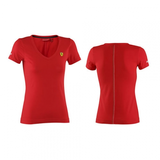 Ferrari Red Ladies Vneck Tee Shirt