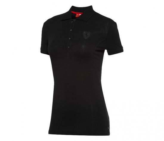 Puma Ferrari Ladies Black Shield Polo Shirt