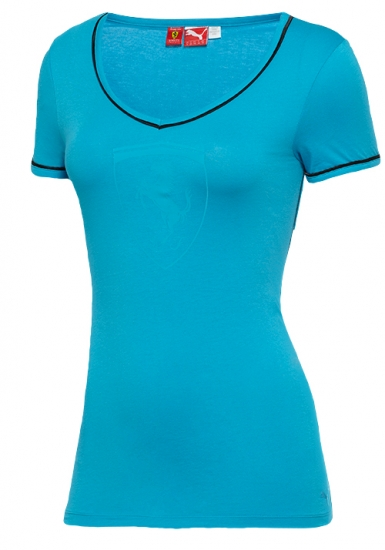 Puma Ferrari Ladies Blue Shield Tee Shirt
