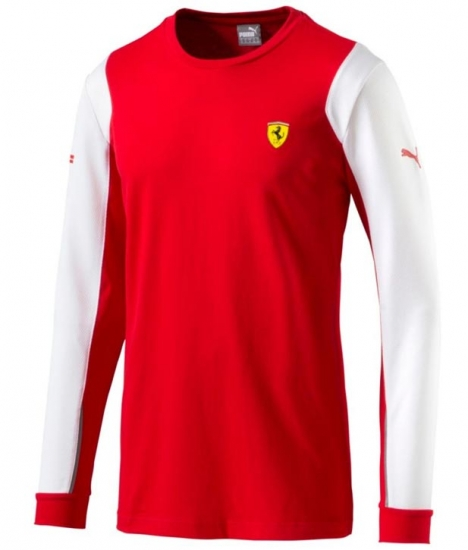 Puma Ferrari SF Red Long Sleeve Tee Shirt