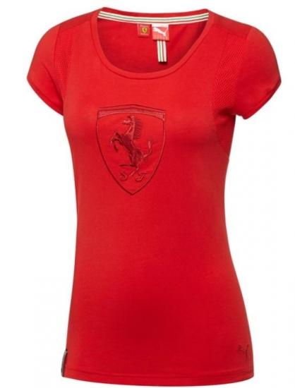 Puma Ferrari Ladies Shield Red Tee Shirt