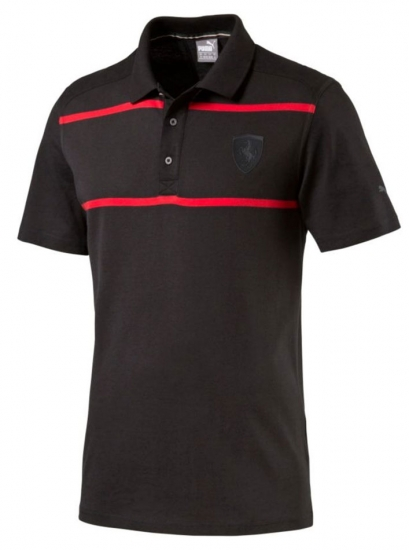 Puma Ferrari Black Stripe Polo Shirt