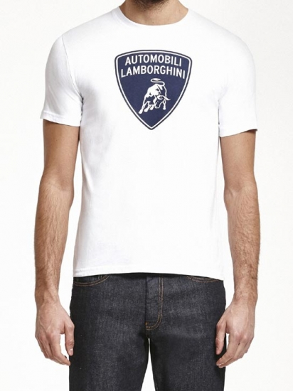Automobili Lamborghini White Shield Tee Shirt