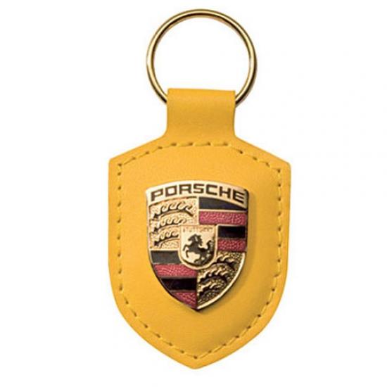 Porsche Crest Leather Keyfob Yellow