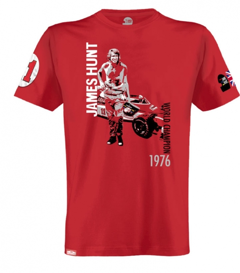 James Hunt 1976 World Champ Tee Shirt by Hunziker