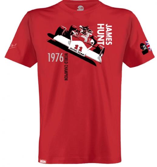 James Hunt M23 F1 Car Tee Shirt by Hunziker