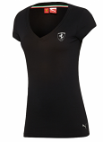 Puma Ferrari Ladies Black Shield V-Neck Shirt