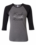 Honda Ladies Grey Raglan Tee Shirt