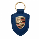 Porsche Crest Leather Keyfob Blue