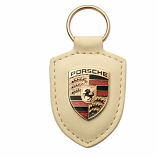 Porsche Crest Leather Keyfob White