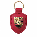 Porsche Crest Leather Keyfob Red