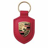 Porsche Crest Leather Keyfob Red