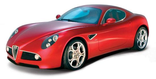 Alfa Romeo 8C Competizione Red Bburago 1/18th Diecast Model