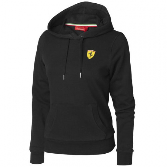 Ferrari Ladies Black Shield Hooded Sweat Shirt