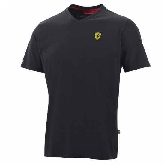 Ferrari Black Shield Vneck Tee Shirt