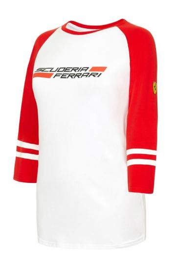 Ferrari Ladies Red 3/4 Sleeve Tee Shirt
