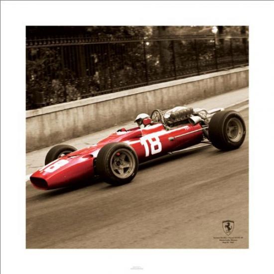 Ferrari 1967 Sepia Lorenzo Bandini Vintage Print