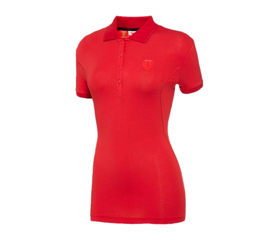 Puma Ferrari Ladies Red Shield Polo Shirt