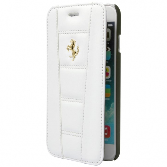 Ferrari 458 iPhone 6/6S Plus White Book Style Leather Case