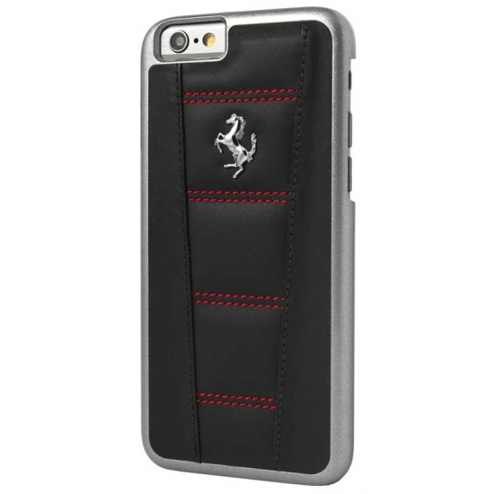 Ferrari 458 Black-Red Stitch iPhone 6/6S
