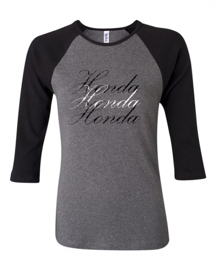 Honda Ladies Grey Raglan Tee Shirt