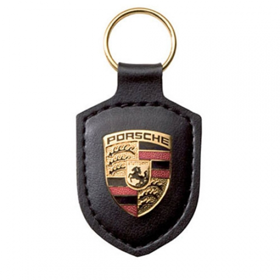 Porsche Crest Leather Keyfob Black