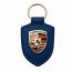 Porsche Crest Leather Keyfob Blue