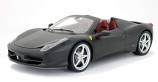 Ferrari 458 Italia Black Matte Hotwheels Elite 1:18th Diecast