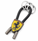 Ferrari Black Shield Rubber Strap Keychain